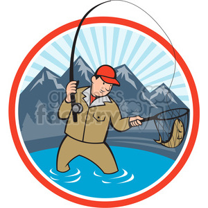 fisherman fishing with net front clipart. Commercial use image # 388639