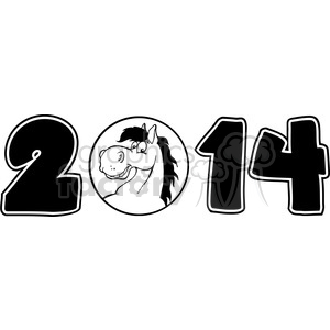 5669 Royalty Free Clip Art 2014 Year Cartoon Numbers With Horse Face Over A Circle clipart. Royalty-free image # 388669