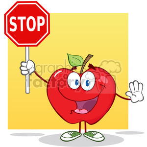 5794 Royalty Free Clip Art Apple Cartoon Mascot Character Holding A Stop Sign clipart. Royalty-free image # 388699