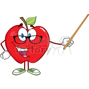 5760 Royalty Free Clip Art Smiling Apple Teacher Character With A Pointer clipart. Commercial use image # 388719