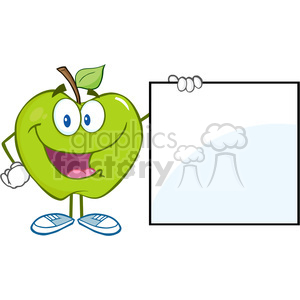 5770 Royalty Free Clip Art Happy Green Apple Cartoon Character Showing A Blank Sign clipart. Commercial use image # 388729
