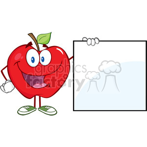 5766 Royalty Free Clip Art Happy Apple Cartoon Character Showing A Blank Sign clipart. Royalty-free image # 388761