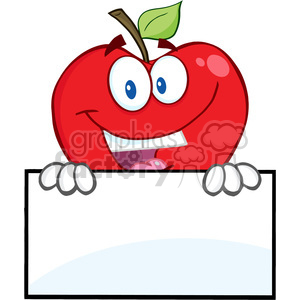 5778 Royalty Free Clip Art Smiling Red Apple Hiding Behind A Sign clipart. Royalty-free image # 388810