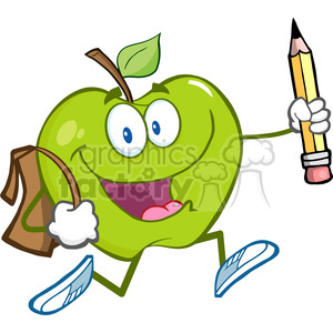 5803 Royalty Free Clip Art Happy Green Apple Character With School Bag And Pencil Goes To School clipart. Royalty-free image # 388820