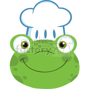 5653 Royalty Free Clip Art Cute Frog Smiling Head With Chef Hat clipart. Royalty-free image # 388840