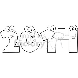 5660 Royalty Free Clip Art 2014 New Year Numbers Cartoon Characters clipart. Commercial use image # 388871