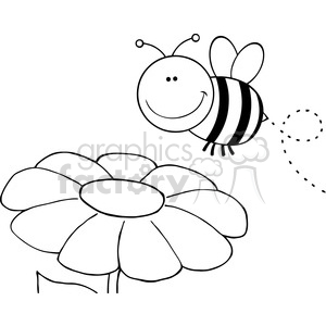 5596 Royalty Free Clip Art Smiling Bumble Bee Flying Over Flower clipart. Commercial use image # 388891