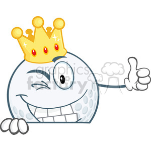 5724 Royalty Free Clip Art Winking Golf Ball With Gold Crown Holding A Thumb Up Over Sign clipart. Royalty-free image # 388911