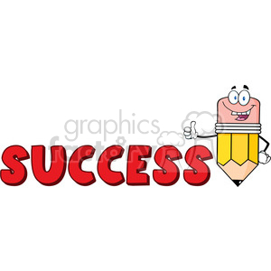 5940 Royalty Free Clip Art Happy Pencil Cartoon Character Giving A Thumb Up With Text Success clipart. Royalty-free image # 388931