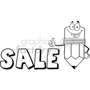 Royalty Free Clip Art Happy Pencil Cartoon Character Giving A Thumb Up With Text Sale clipart. Royalty-free image # 388941