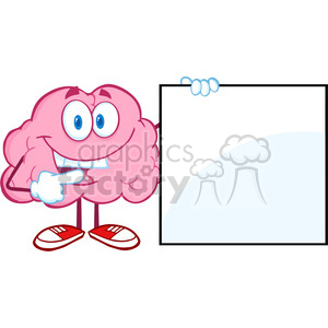 5847 Royalty Free Clip Art Happy Brain Cartoon Character Showing A Blank Sign clipart. Royalty-free image # 388971