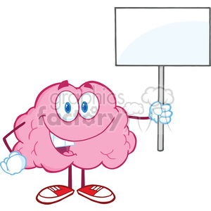 5858 Royalty Free Clip Art Happy Brain Character Holding Up A Blank Sign clipart. Royalty-free image # 388991