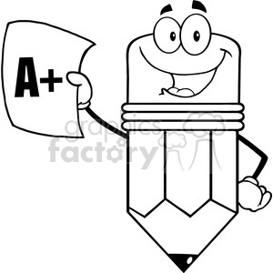 5917 Royalty Free Clip Art Smiling Pencil Holding An A Plus Report Card clipart. Royalty-free image # 389001