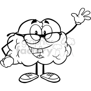 5974 Royalty Free Clip Art Smiling Brain Teacher Cartoon Character Waving For Greeting