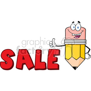 5942 Royalty Free Clip Art Happy Pencil Cartoon Character Giving A Thumb Up With Text Sale