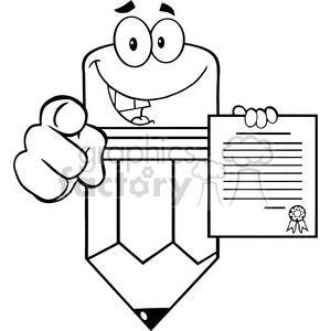 5933 Royalty Free Clip Art Smiling Pencil Cartoon Character Pointing With Finger And Holding A Contract clipart. Royalty-free image # 389061