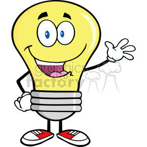 6008 Royalty Free Clip Art Light Bulb Cartoon Mascot Character Waving For Greeting clipart. Commercial use image # 389081