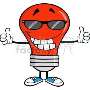 Royalty Free Clip Art Smiling Red Light Bulb With Sunglasses Giving A Double Thumbs Up clipart. Royalty-free image # 389091