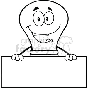6030 Royalty Free Clip Art Smiling Light Buble Cartoon Character Over Blank Sign clipart. Commercial use image # 389101