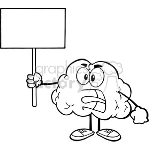 5998 Royalty Free Clip Art Angry Brain Cartoon Character Screaming And Holding Up A Blank Sign clipart. Commercial use image # 389131