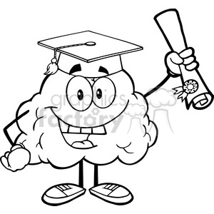 5994 Royalty Free Clip Art Happy Brain Character Graduate Holding up A Diploma clipart. Royalty-free image # 389141
