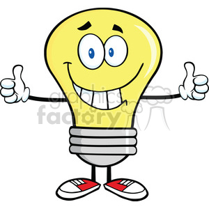 6067 Royalty Free Clip Art Smiling Light Bulb Cartoon Character Giving A Double Thumbs Up clipart. Royalty-free image # 389161