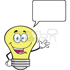 6101 Royalty Free Clip Art Light Bulb Cartoon Mascot Character Waving For Greeting With Speech Bubble clipart. Royalty-free image # 389191