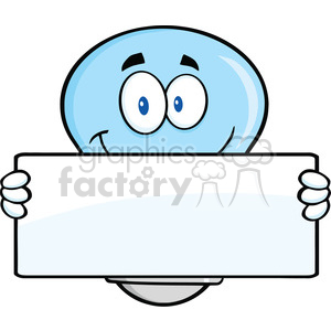 6114 Royalty Free Clip Art Blue Light Bulb Cartoon Mascot Character Holding A Banner clipart. Royalty-free image # 389211