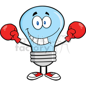 6047 Royalty Free Clip Art Smiling Blue Light Bulb Cartoon Character Wearing Boxing Gloves clipart. Royalty-free image # 389221