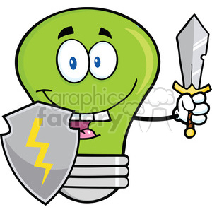 6119 Royalty Free Clip Art Green Light Bulb Guarder With Shield And Sword clipart. Commercial use image # 389231