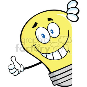 6079 Royalty Free Clip Art Smiling Light Bulb Giving A Thumb Up Behind A Sign clipart. Royalty-free image # 389241