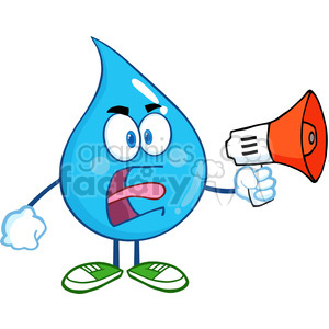 6224 Royalty Free Clip Art Angry Water Drop Character Screaming Into Megaphone clipart. Royalty-free image # 389251