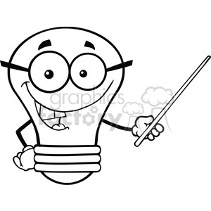 6165 Royalty Free Clip Art Light Bulb Character With Glasses Holding A Pointer clipart. Royalty-free image # 389271