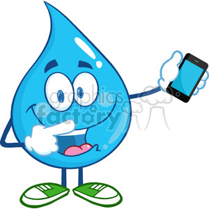 6232 Royalty Free Clip Art Water Drop Character Pointing To A Mobile Phone