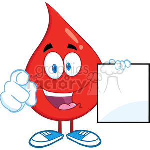 6201 Royalty Free Clip Art Red Blood Drop Cartoon Character Pointing With Finger And Holding A Blank Page clipart. Royalty-free image # 389321