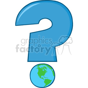 6252 Royalty Free Clip Art Cartoon Blue Question Mark With World Globe clipart. Royalty-free image # 389351