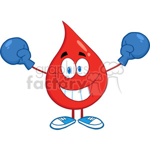6196 Royalty Free Clip Art Smiling Red Blood Drop Character With Boxing Gloves