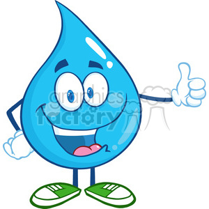 6227 Royalty Free Clip Art Happy Water Drop Character Giving A Thumb Up clipart. Royalty-free image # 389401