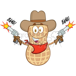 6803 Royalty Free Clip Art Smiling Peanut Cowboy Cartoon Mascot Character With Guns And Shooting