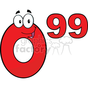 6705 Royalty Free Clip Art Price Tag Red Number 0-99 Cartoon Mascot Character