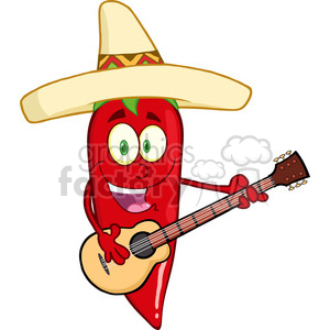 6779 Royalty Free Clip Art Red Chili Pepper Cartoon Character With Mexican Hat Playing A Guitar clipart. Commercial use image # 389476