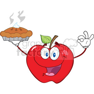 6539 Royalty Free Clip Art Happy Red Apple Character Holding Up A Pie clipart. Royalty-free image # 389496