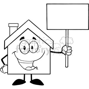 6479 Royalty Free Clip Art Black and White House Cartoon Character Holding Up A Blank Sign clipart. Commercial use image # 389526