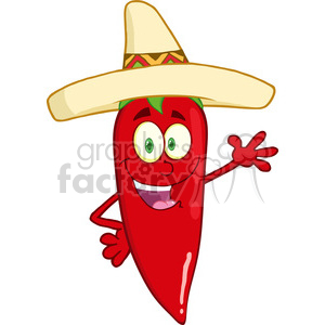 cartoon pepper chili chef hot mexican sombrero