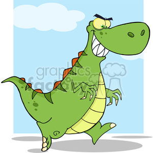 6821 Royalty Free Clip Art Angry Green Dinosaur Running clipart. Commercial use image # 389546