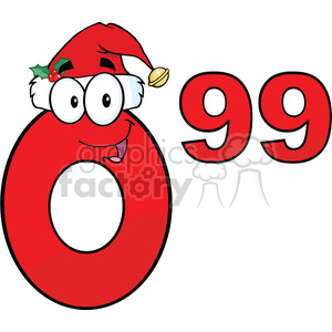 6707 Royalty Free Clip Art Price Tag Red Number 0.99 With Santa Hat Cartoon Mascot Character