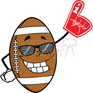 6588 Royalty Free Clip Art Smiling American Football Ball With Sunglasses Holding A Foam Finger clipart. Commercial use image # 389606