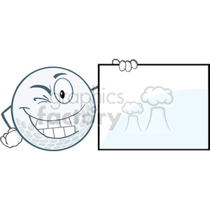 6499 Royalty Free Clip Art Winking Golf Ball With Showing A Sign clipart. Royalty-free image # 389626