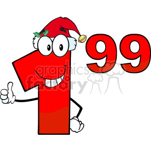 clipart - Price Tag Red Number 1.99 With Santa Hat Cartoon Mascot Character Giving A Thumb Up.