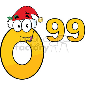 6704 Royalty Free Clip Art Price Tag Number 0-99 With Santa Hat Cartoon Mascot Character clipart. Commercial use image # 389658